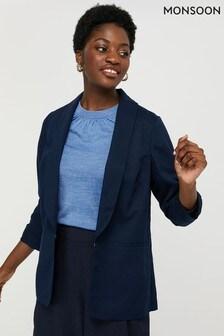 Monsoon Blue Marsha Linen Smart Jacket