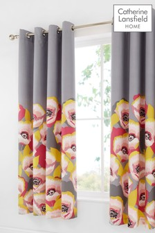 Catherine Lansfield Modernist Poppy Floral Eyelet Curtains