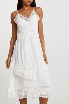 River Island Cream Sleeveless Dobby Slip Dress
