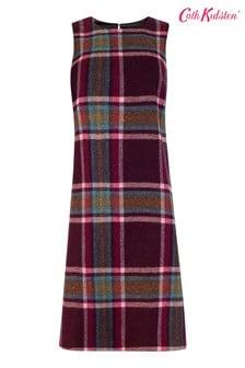Cath Kidston Purple Clarendon Check Wool Pinafore Dress