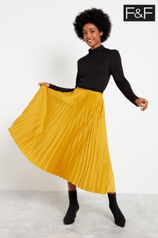 F&F Yellow Pleated Skirt