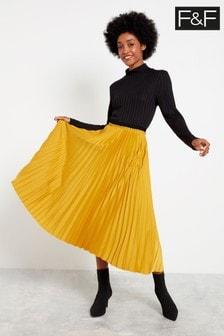 F&F Yellow Pleated Skirt