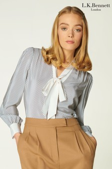 L.K.Bennett Cream Georgia Diagonal Stripe Print Blouse