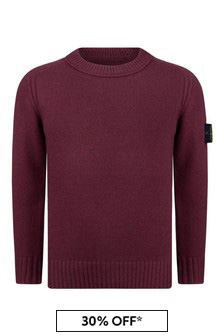 Boys Burgundy Knitted Jumper