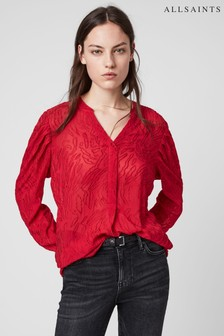 AllSaints Red Rosi Top