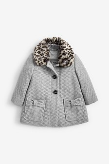 Tweed Faux Fur Collar Coat (12mths-7yrs)