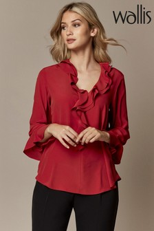 Wallis Red Ruffle Blouse