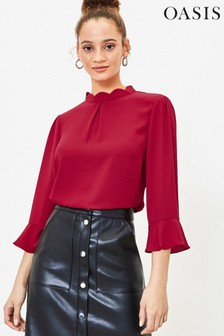 Oasis Red Scallop Flute Sleeve Top