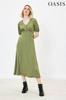 Oasis Green Puff Sleeve Midi Dress