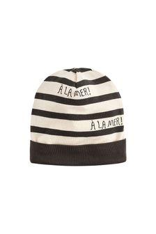 Kids Grey Stripes Beanie Hat