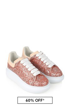 Girls Pink Glitter Trainers