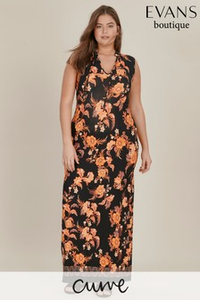 Evans Curve Black/Orange Floral Tassel Dress