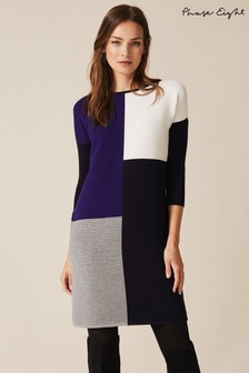 Phase Eight Blue Cher Colourblock Ripple Dress