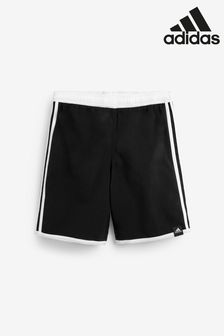 adidas Black/White 3 Stripe Swim Shorts