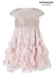 Monsoon Baby Dusky Pink Sequin 3D Roses Dress