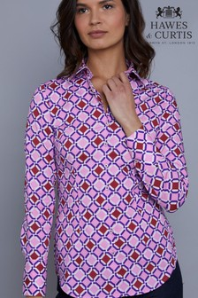 Hawes & Curtis Pink Geometric Print Stretch Fitted Shirt