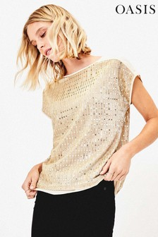 Oasis Gold Sequin Plissé Top