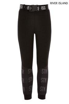 Черные спортивные брюки в стиле милитари River Island