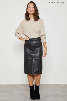 Mint Velvet Black PU Pencil Skirt