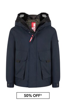 Ai Riders On The Storm Boys Navy Down Padded Jacket With Detachable Neoprene Face Covering
