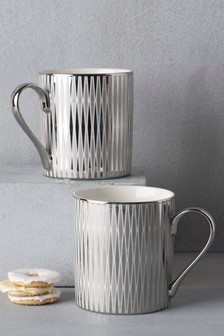 Set of 2 Silver Diamond Mugs
