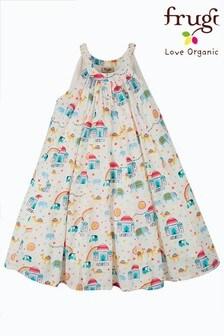 Frugi Organic Full Skirt Dress - White India Print