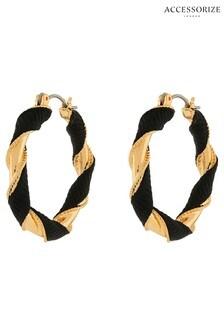 Accessorize Black Grosgain Twist Hoop Earrings