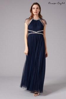 Phase Eight Blue Gerona Pleated Tulle Dress