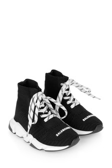 Kids Black Lace Up Speed Trainers