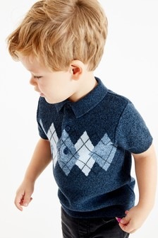 Argyle Pattern Knitted Poloshirt (3mths-7yrs)