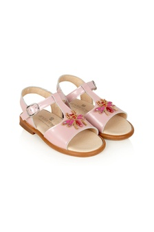Andanines Girls Pink Leather Sandals