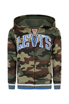 Boys Green Camouflage Cotton Zip Up Top