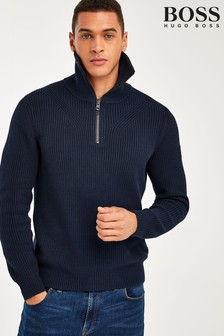 BOSS Blue Akromiz Quarter Zip Jumper
