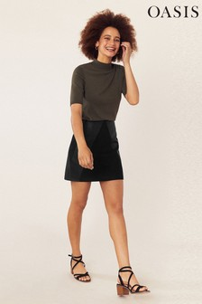 Oasis Black Faux Leather Mini Skirt