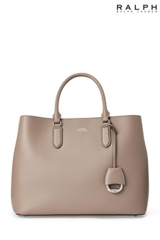 Ralph Lauren Taupe Leather Marcy Satchel Bag