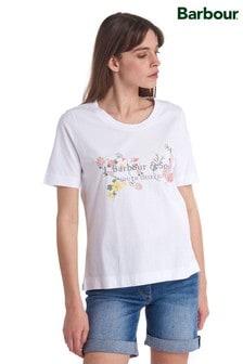 Barbour® Heritage Sofia Geblümtes Logo-T-Shirt, weiß