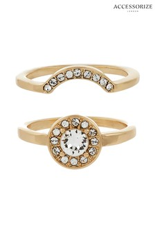 Accessorize Interlocking Gold Tone Rings Two Pack With Swarovski® Crystals