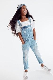Jeansowe ogrodniczki z szydełkowaną wstawką i opaska na głowę (3-16 lat)