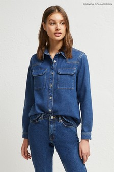 French Connection Blue Marbilla Western Cotton Shirt
