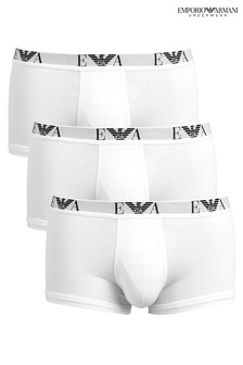 Emporio Armani White Eagle Band Briefs Three Pack