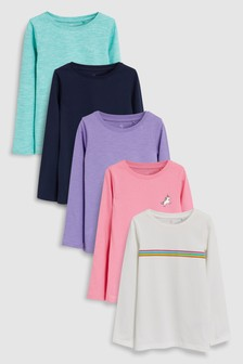 Long Sleeve T-Shirts Five Pack (3-16yrs)