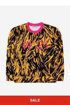 Girls Black/Yellow Zebra Cotton Sweatshirt