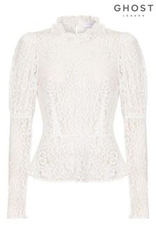 Ghost London Cream Lecice Ivory Lace Top