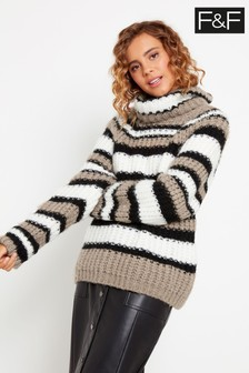 F&F Multi Chunky Stripe Roll Neck Jumper