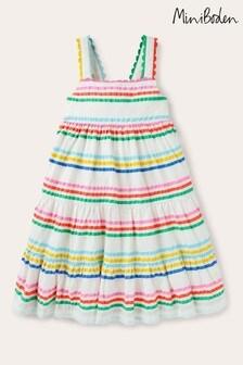 Boden Multi Rainbow Tiered Twirly Dress