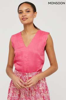 Monsoon Pink Lotus Linen Scallop Edge Tank Top