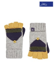Joules Grey Handy Knitted Converter Mittens
