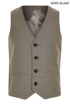 River Island Brown Check Waistcoat