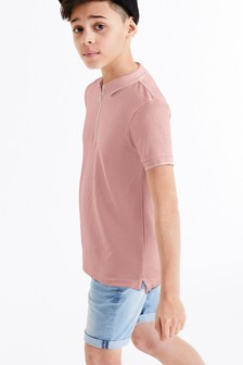 Textured Zip Neck Poloshirt (3-16yrs)