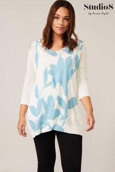 Studio 8 Blue Aria Floral Knit Top